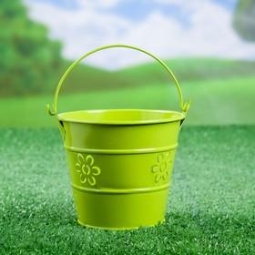 """Кашпо """"Ведерко"""" 9,5*9,5*9,5 см зеленое - фото 1695299"""