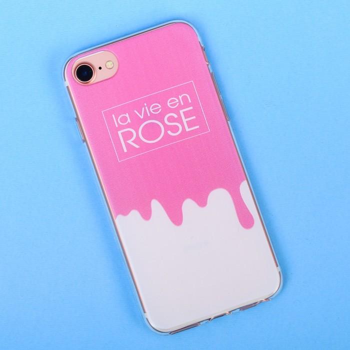 Чехол для телефона iPhone 6, 6S, 7 с рельефным нанесением la vie en rose, 6.5 × 14 см