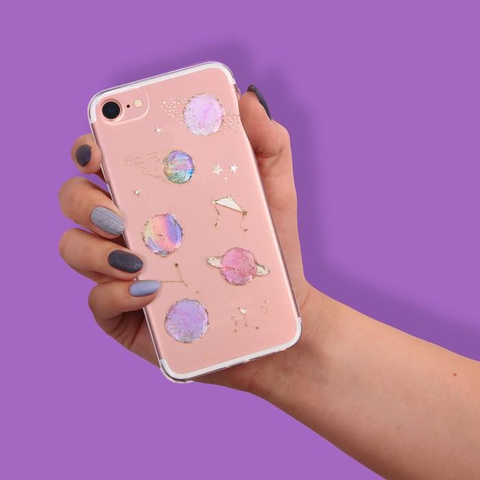 Чехол для телефона iPhone 6, 6S, 7 с эпоксидными элементами «Космос», 6.5 × 14 см
