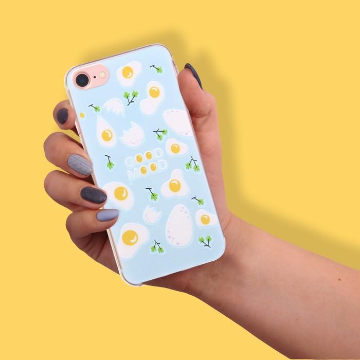 Чехол для телефона iPhone 7 с рельефным нанесением Good mood, 6.5 × 14 см