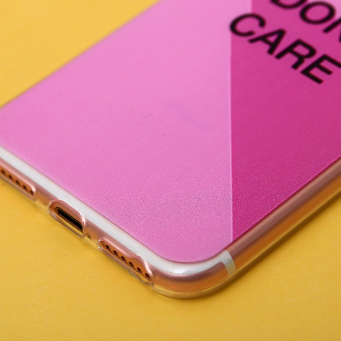 Чехол для телефона iPhone 7 с рельефным нанесением I don`t care, 6.5 × 14 см