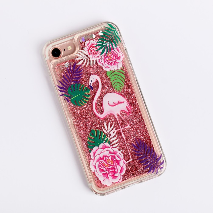 Чехол для телефона iPhone 7 с блёстками внутри «Фламинго», 6.5 × 14 см