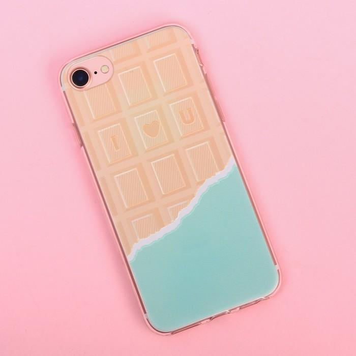 Чехол для телефона iPhone 7 с рельефным нанесением I love you, 6.5 × 14 см