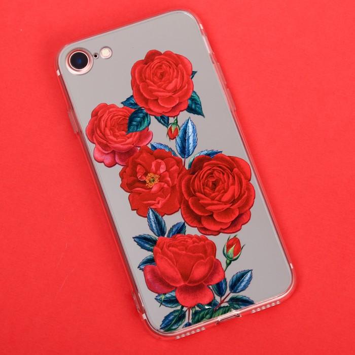 Чехол для телефона iPhone 7 с зеркальным эффектом «Розы», 6.5 × 14 см