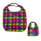 """Сумка складная """"Цветная клетка"""" цельнокроеная, трансформируется в сумочку, цветная"""