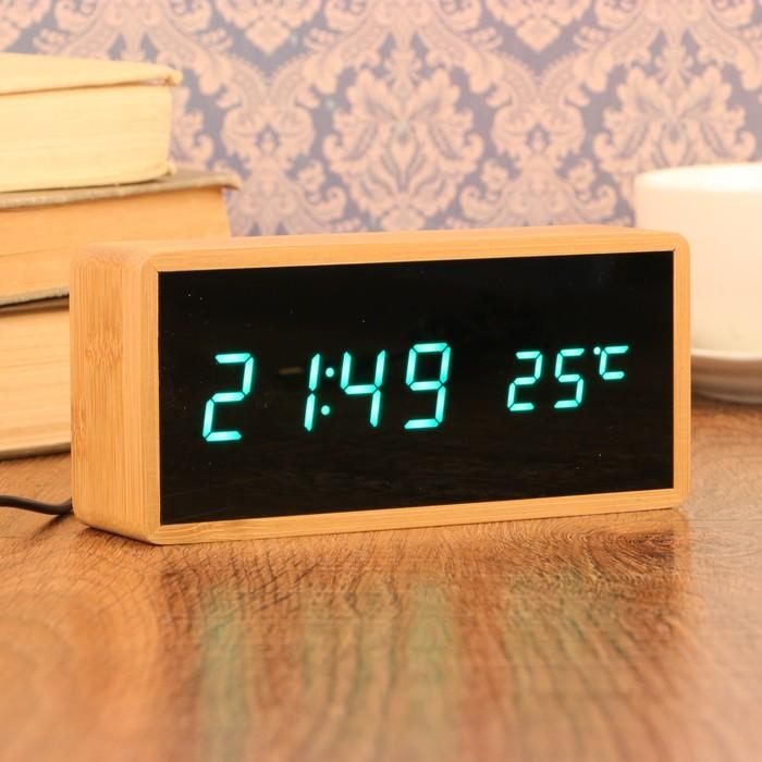Часы-будильник электронные, с подсветкой, дата, зелёные цифры, 4ААА, 15×4×7 см