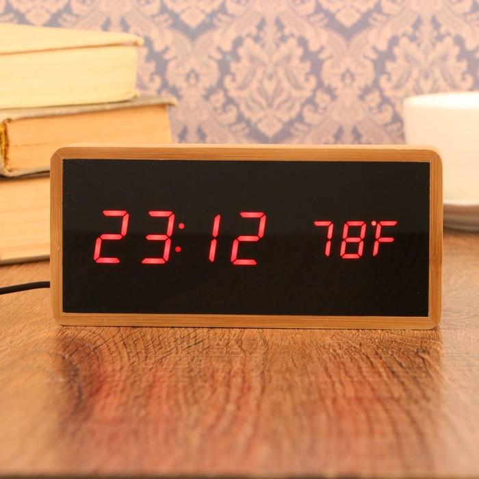 Часы-будильник электронные, с подсветкой, дата, красные цифры, 4ААА, 15×4×7 см