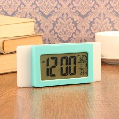 Часы-будильник электронные, с подсветкой, температура, дата, батарея 3ААА, 17х4х7 см, микс