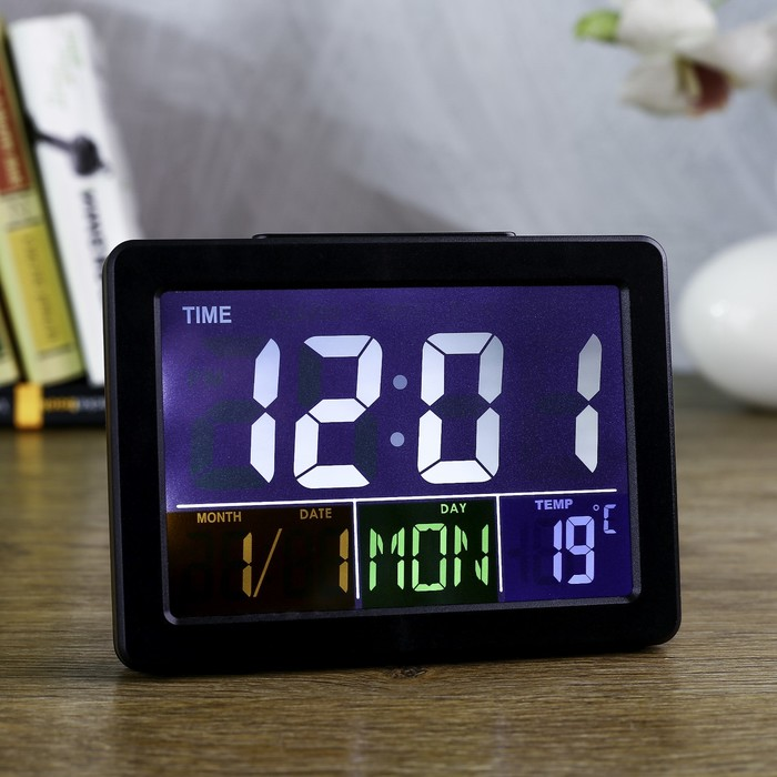 Часы-будильник электронные, с подсветкой, температура, дата, батарея 2ААА,14х5х10 см, черные