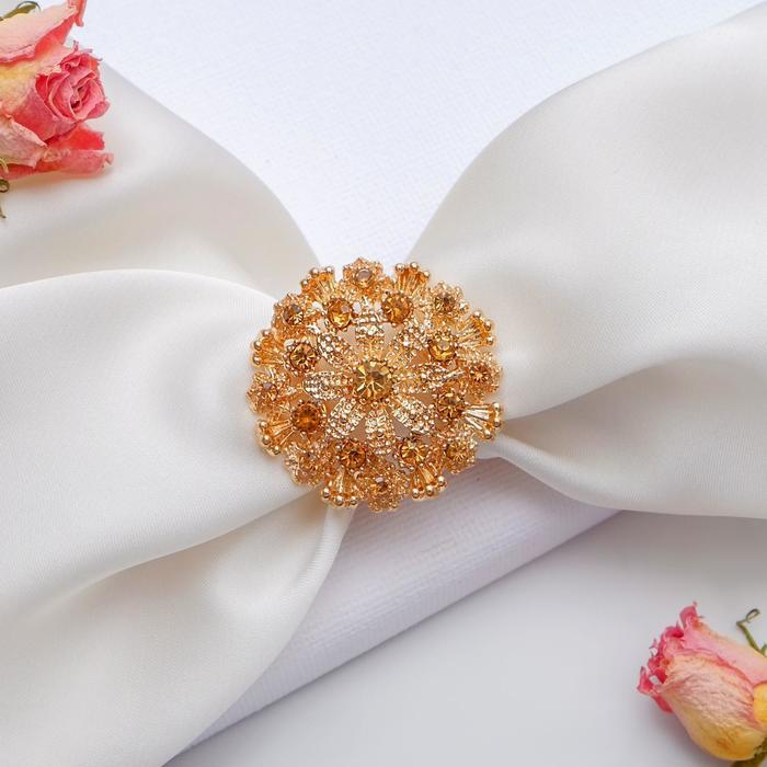 """Кольцо для платка """"Россыпь"""", цвет шампанского в золоте - фото 274891804"""