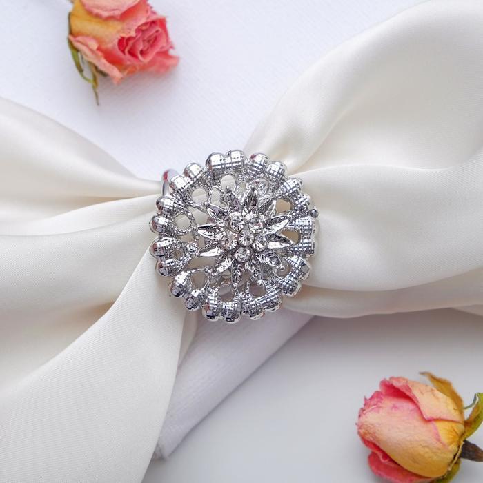 """Кольцо для платка """"Аромат"""", цвет белый в серебре - фото 436987468"""