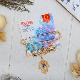 "Pin-talisman ""Longevity"" 7cm, color white blue gold"