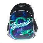 Рюкзак каркасный LeonВergo Midi №2 38*30*17, для мальчика, Speed neon 2, чёрный
