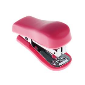 Степлер №10 до 16 листов LeonВergo Мини пластиковый корпус, встроенный металлический антистеплер, розовый