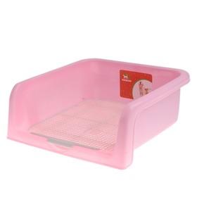 Туалет для собак с высокими бортами и съемной сеткой, 42 х 41 х 16 см, розовый
