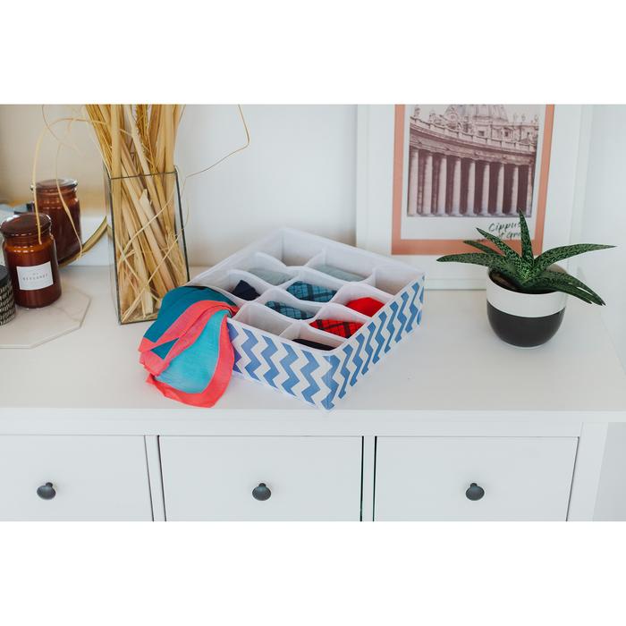 """Органайзер для белья 32×32×12 см """"Зигзаг"""", 12 ячеек, цвет синий"""