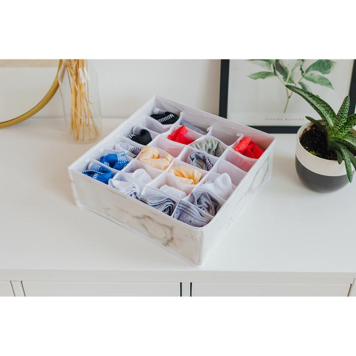 """Органайзер для белья 32×32×12 см """"Мрамор"""", 24 ячейки, цвет белый"""