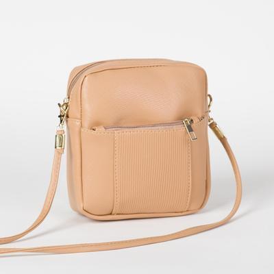 Bag, Department, zippered, outer pocket, long strap, color beige