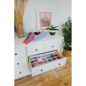 Органайзер для белья «Зигзаг», 32×24×12 см, 8 ячеек, цвет синий - фото 4640755