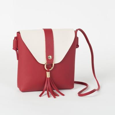 Bag for women, the division on the flap, long strap, color Burgundy/milky