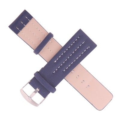Watchband, 24mm, eco-leather, blue with white thread-smooth, 20cm
