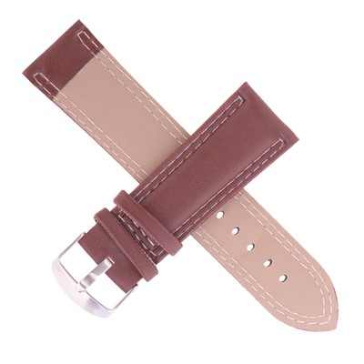 Watchband, 24mm, eco-leather, dark brown, smooth, 20cm