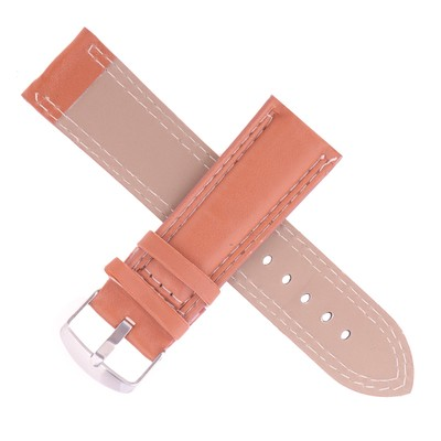 Watchband, 24mm, eco-leather, brown, smooth, 20cm
