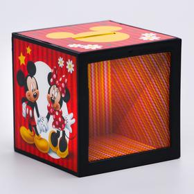 Piggy bank with focus, Mickey Mouse and his friends, 7 x 7 cm