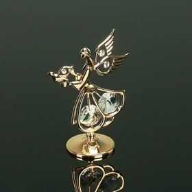 Сувенир «Ангел с голубем», 3×5×7.5 см, с кристаллами Сваровски