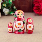 "Matryoshka ""Daughter"", red dress 3 doll 9 cm"