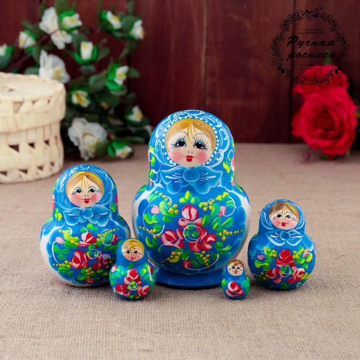 Матрёшка «Иней», голубой платок, 5 кукольная, 12 см