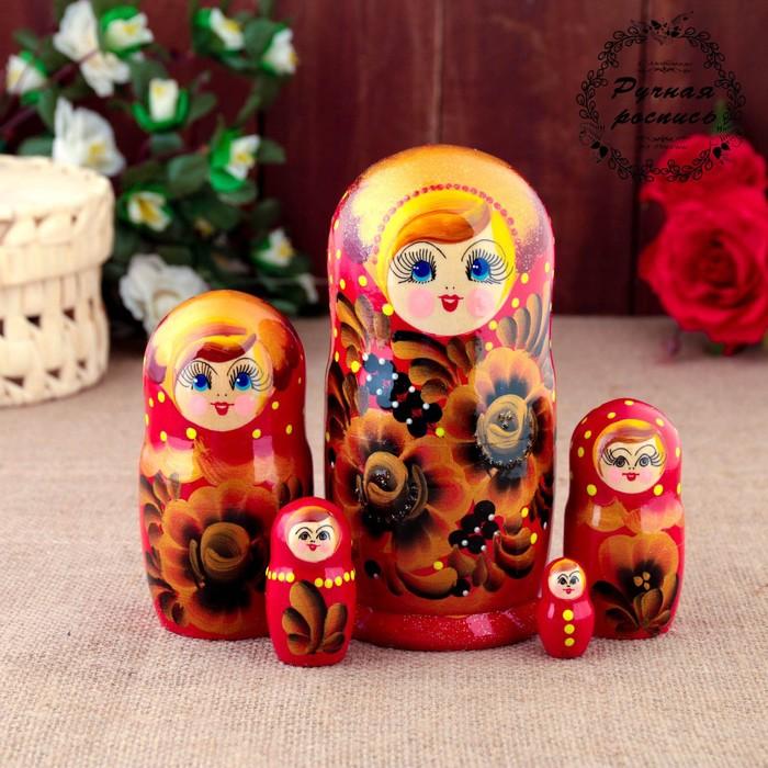 "Matryoshka ""Golden flowers"", red dress, 5 doll, 15 cm"