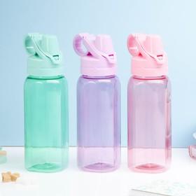 Бутылка для воды 450 мл, шестигранная с кольцом, 8х23 см, микс в Донецке