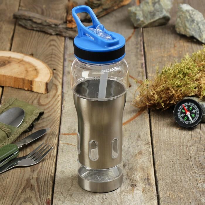 Бутылка для воды 600мл, вставка из металла, с отсеком для льда микс 8*24см