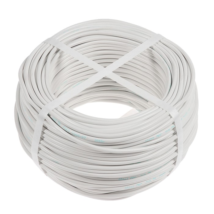 Провод Luazon Lighting, 100 м, ПВС, 2х0.75 мм2, белый, ГОСТ
