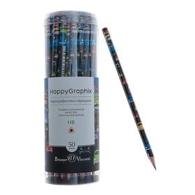 Карандаш чернографитный 2 мм HappyGraphix «Цветные автомобили», НВ, трехгранный