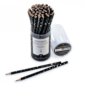 Карандаш чернографитный 3 мм ArtGraphix «Сердечки», НВ, трёхгранный, пластиковый корпус