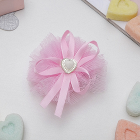 "Hair clip ""Ballerina"" ribbon heart, pink"
