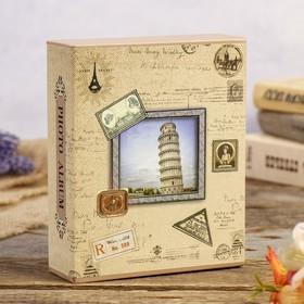 """Фотоальбом на 40 фото 10х15 см """"Башня"""" золот.обводка в коробке МИКС 17х14х4,5 см"""