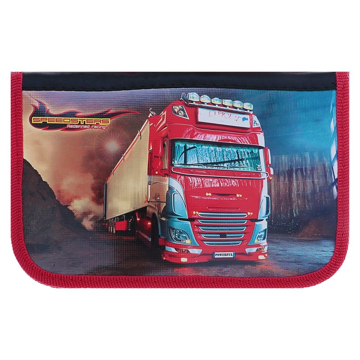 Пенал 2 секции «Красный грузовик», 120 x 190 мм, откидная планка, ламинированный картон