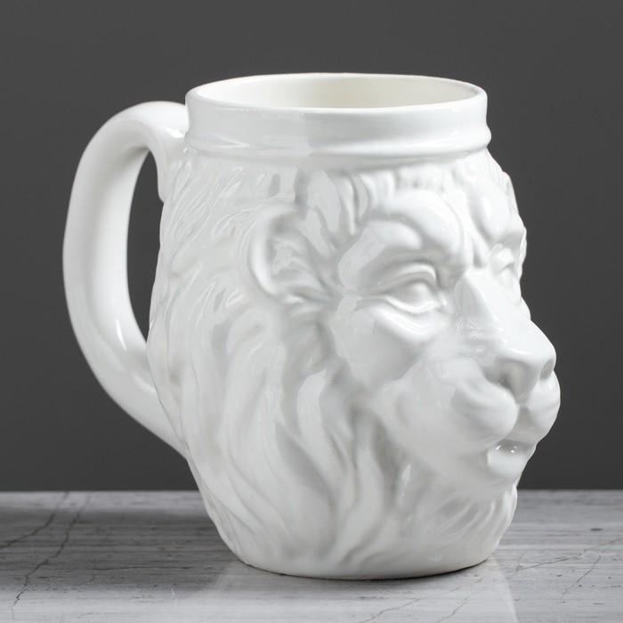 """Бокал """"Лев"""", белый, керамика, 0.6 л"""