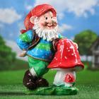 """Садовая фигура """"Гном-лесник с грибами"""" большая, 51 см"""