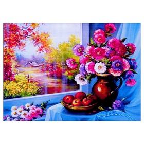 Алмазная мозаика «У окна» 40 × 30 см, 38 цвета
