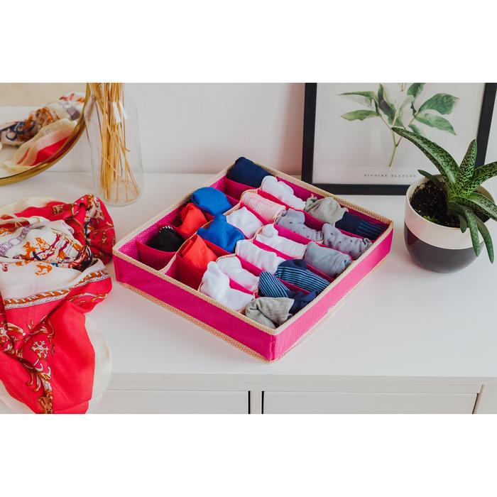 """Органайзер для белья 31×35×8 см """"Ваниль"""", 24 ячейки, цвет розово-бежевый"""