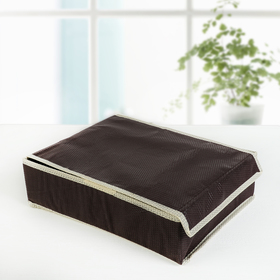 Organizer for linen with a cover 31×35×8 cm Vanilla, 24 cell, color brown-beige