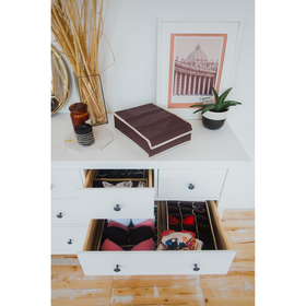 Органайзер для белья с крышкой «Ваниль», 24 ячейки, 31×35×8 см, цвет коричнево-бежевый