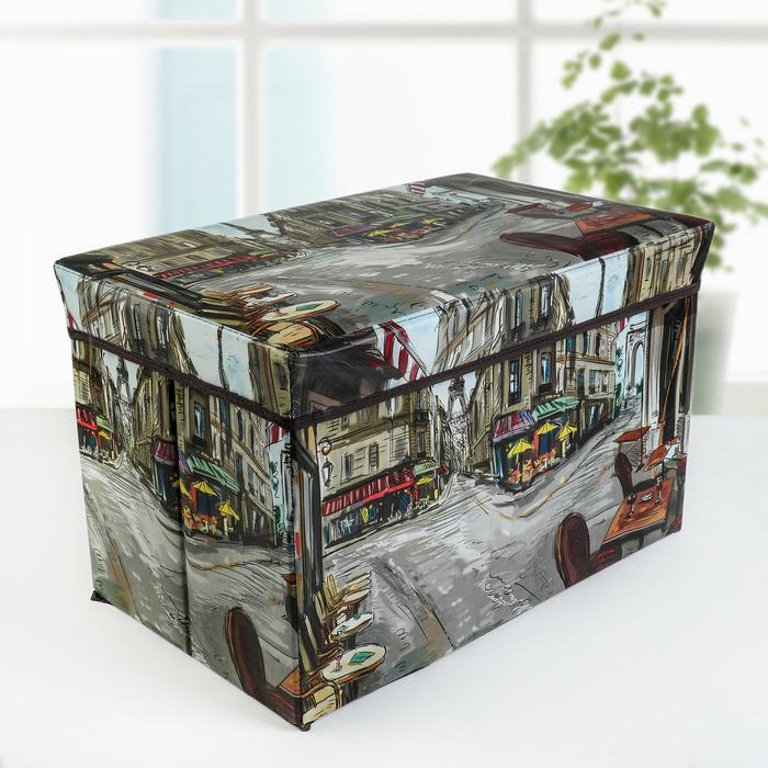 """Короб для хранения с крышкой 48×32×32 см """"Париж в красках"""""""