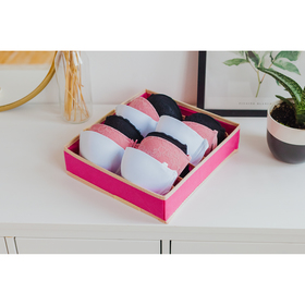 """Органайзер для белья 33×30×8 см """"Ваниль"""", 7 отделений, цвет розово-бежевый"""