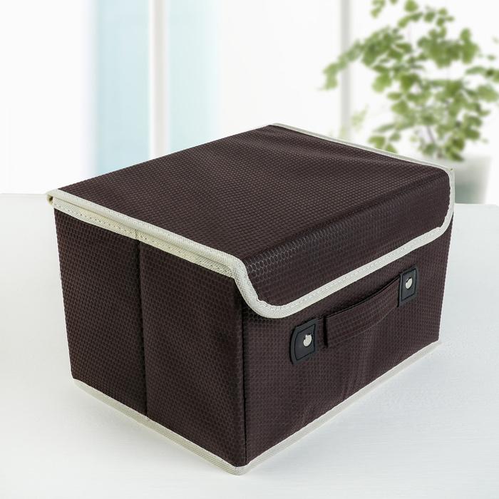Короб для хранения с крышкой «Ваниль», 27×20×16 см, цвет коричневый - фото 308331720