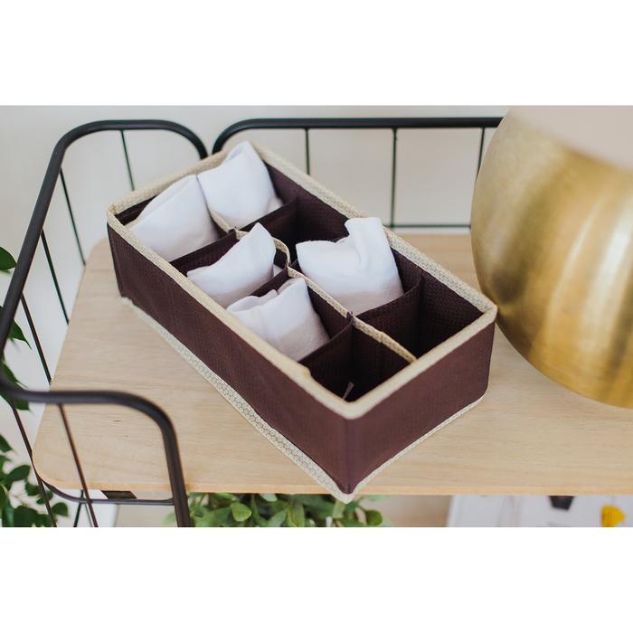 """Органайзер для белья 28×14×10 см """"Ваниль"""", 8 ячеек, цвет коричнево-бежевый"""